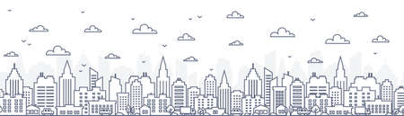 Cityscape horizontal seamless pattern - urban landscape with skyscrapers in linear style on white background. Thin line vector illustration.