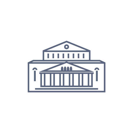 Museum vector icon - art museum or theatre simple pictogram in linear style on white background. Vector illustration.