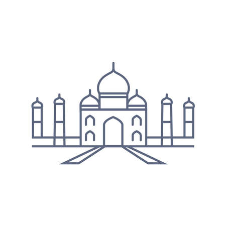 Taj mahal line icon - indian palace simple linear pictogram on white background. Vector illustration. 矢量图像