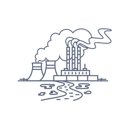 Thermal power plant line icon. Thermoelectric power station with smoke from chimneys and traces of soil and water pollution. Vector linear illustration on white background..