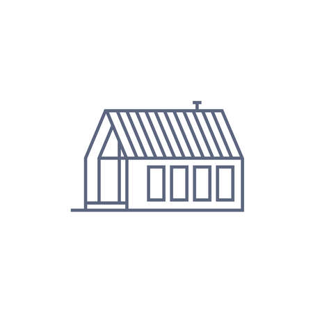 Farm house line icon - village house or wooden cabin in linear style on white background. Vector illustration.