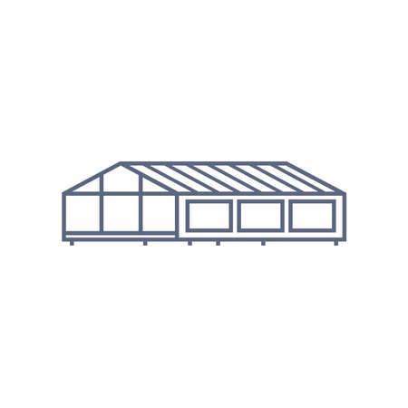 Greenhouse line icon - village house or wooden cabin in linear style on white background. Vector illustration