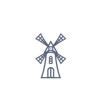 Windmill line icon - old mill linear pictogram isolated on white background. Vector illustration.