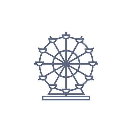 Ferris wheel line icon - carousel simple linear pictogram on white background. Vector illustration.