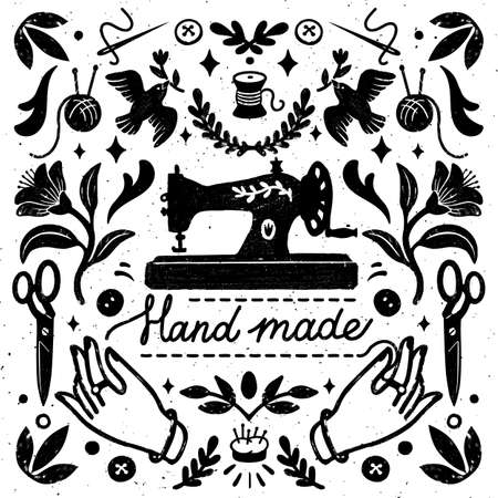 Handmade symmetric vector composition - vintage elements in stamp style and sewing machine with hand made lettering. Vintage vector illustration for banners and cards. 矢量图像