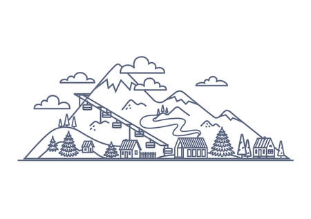 Mountain resort line icon - mountain landscape with village buildings simple linear illustration on white background. Vector illustration.