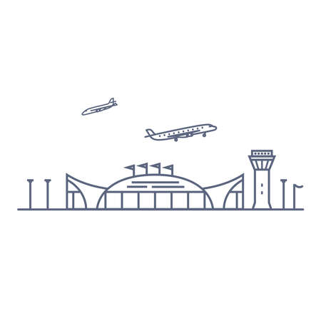 Airport line vector icon - airport terminal building and planes linear pictogram isolated on white background. Vector illustration. 矢量图像