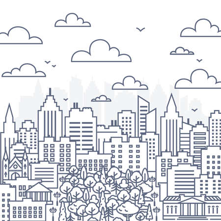 Cityscape line vector illustration - urban landscape in linear style on white background