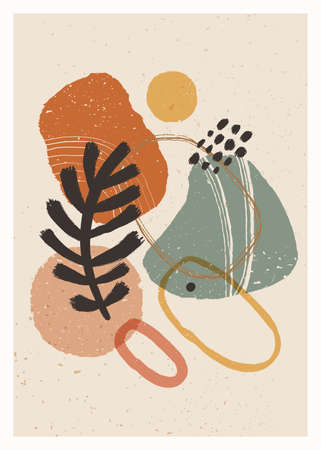 Abstract art minimalist poster. Scandinavian abstract organic composition in natural earthy colors for wall decoration. Vector hand-painted illustration 矢量图像