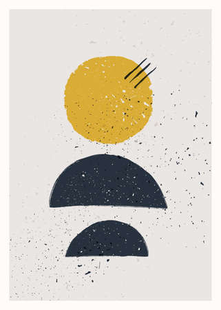 Abstract art minimalist poster. Scandinavian abstract geometric composition for wall decoration. Vector hand-painted illustration 矢量图像