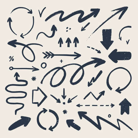 Abstract arrow icons set. Various doodle arrows in different shapes with grunge texture. Hand-drawn abstract infographic Vector collection. 矢量图像