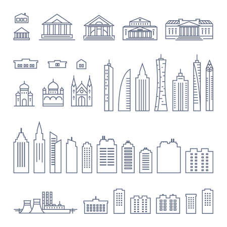 city buildings line icon set - various types of government buildings and skyscrapers simple linear pictogram on white background. Vector illustration.