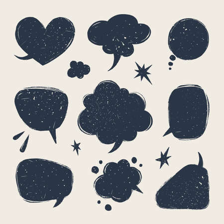Speech bubbles set. Various talk balloon shapes in vintage style with grunge texture. Hand-drawn infographic Vector collection.
