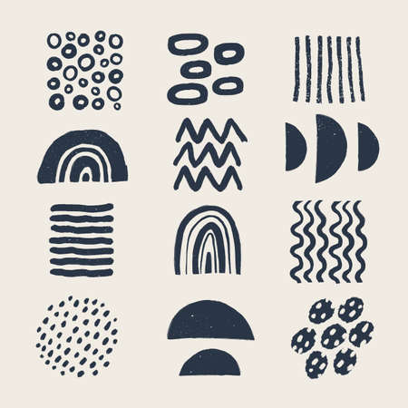 Abstract graphic art set. Various modern organic shapes and elements in vintage style with grunge texture. Hand-drawn abstract art Vector collection. . 矢量图像