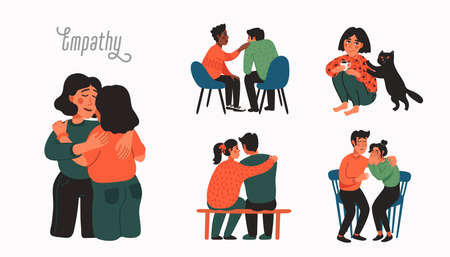 Empathy. Empathy and Compassion concept - people comforting each other. 矢量图像