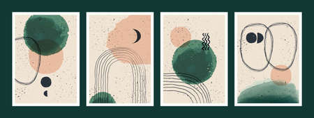 Abstract art minimalist posters set. Scandinavian abstract geometric composition for wall decoration. Vector hand-painted illustration