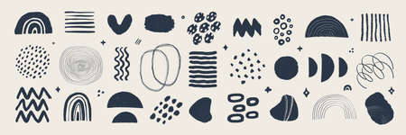 Abstract graphic art set. Various modern organic shapes and elements in vintage style with grunge texture. Hand-drawn abstract art Vector collection. 矢量图像
