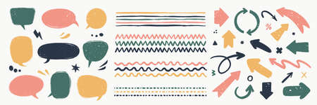 Abstract vector arrows, bubbles, and strokes. Various doodle elements for presentations and infographics with grunge texture. Hand-drawn abstract vintage infographic Vector collection. 矢量图像