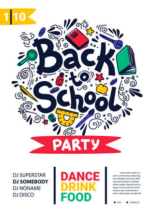 Back to school party poster. School dance party flyer. 矢量图像