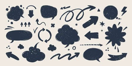 Abstract arrows and Speech bubbles set. Various doodle arrows and talk balloons with grunge texture. Hand-drawn abstract vintage infographic Vector collection.