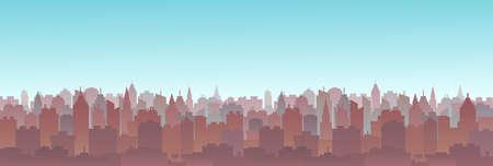 Cityscape skyline vector illustration. City buildings cartoon style scape.