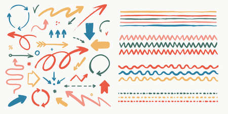 Abstract arrows and brushes set. Various doodle arrows and art strokes with grunge texture. Hand-drawn abstract vintage infographic Vector collection. Add in the brush panel as art or pattern brush.
