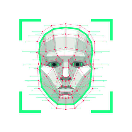 Facial Recognition System concept. ID verification services or bio metric scanning. System of face recognition for person Identification. Vector illustration.