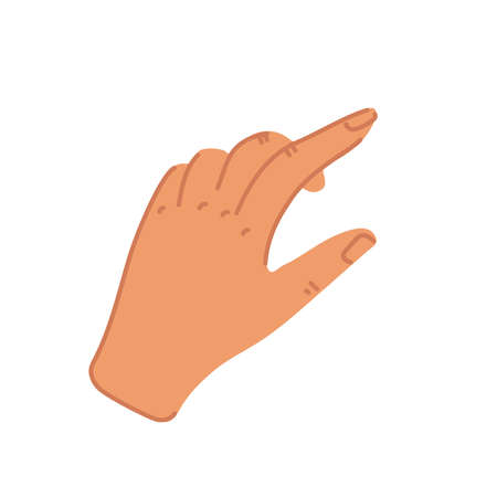 Hand with swiping index finger in flat style. Swipe up or press button icon. Flat cartoon style vector illustration.