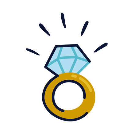 Golden engagement ring icon in flat style. Wedding ring with huge diamond isolated on white background. Flat cartoon style vector illustration.