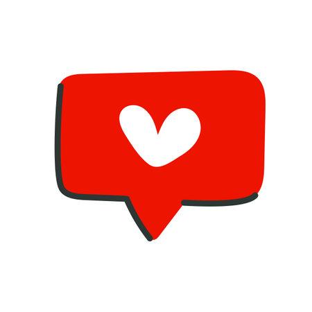 Like icon in flat cartoon style. Heart icon on a red Talk bubble speech. Social media post design. Vector illustration. 矢量图像