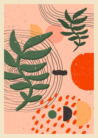 Abstract art minimalist posters set. Scandinavian abstract organic composition in peach pink colors for wall decoration. Vector hand-painted illustration