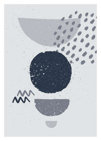 Abstract art monochrome minimalist poster. Scandinavian abstract geometric composition for wall decoration in grayscale colors. Vector illustration  イラスト・ベクター素材