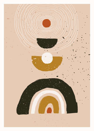 Abstract art minimalist poster. Scandinavian abstract geometric composition for wall decoration in natural earthy colors. Vector hand-painted illustration