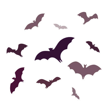 Flying bats, a group of cartoon cave bats isolated on white background. Vector illustration in flat cartoon style