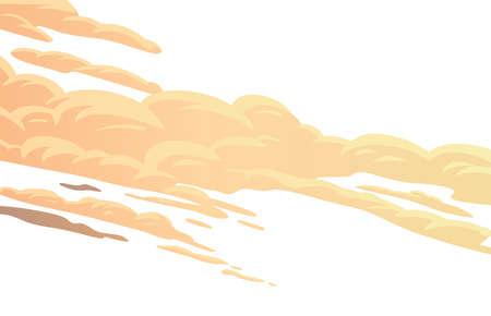 Clouds, cartoon vector background. Yellow cirrus clouds on white background. Vector illustration in flat cartoon style
