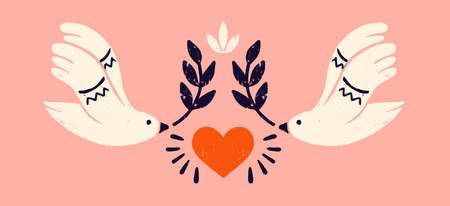 Dove with an olive branch, a symbol of peace. Symmetric composition with two white pigeons and in stamp style. Vintage vector illustration for banners and cards.