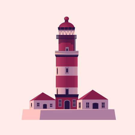 Lighthouse, Sea beacon house. Vector illustration in flat cartoon style.