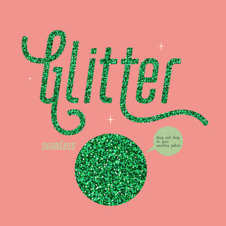 Green glitter seamless pattern, Shiny party background with green shimmer texture. Holiday vector abstract background.