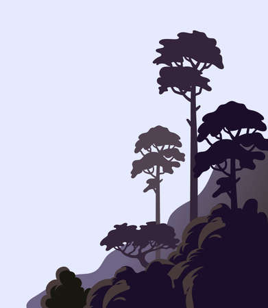 Pine tree on a cliff, rocky shore with tall trees. Vector illustration in flat cartoon style