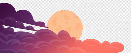 Clouds, cartoon vector background. Evening cloudsand full moom on white background. Vector illustration in flat cartoon style