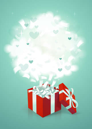 Red gift box with clouds, gift card template. Box with confetti and fluffy clouds with place for text on blue background. Vector illustration.  イラスト・ベクター素材