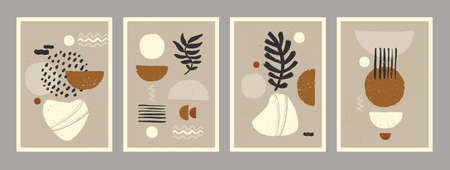Abstract art minimalist posters set. Scandinavian abstract organic composition in natural earthy colors for wall decoration. Vector hand-painted illustration  イラスト・ベクター素材