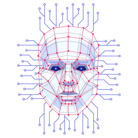 Facial Recognition System concept. Face ID verification services or biometric scanning. System of face recognition for person Identification. Vector illustration.