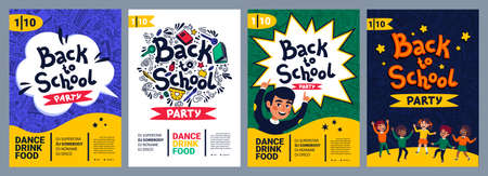 Back to school party poster. School dance party flyer.  イラスト・ベクター素材