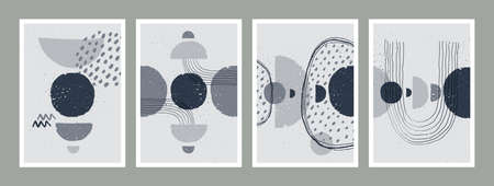 Abstract art monochrome minimalist posters set.r. Scandinavian abstract geometric composition for wall decoration in natural earthy colors. Vector hand-painted illustration  イラスト・ベクター素材