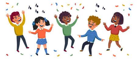 Multicultural Kids, Cartoon vector illustration of happy children. Flat style vector illustration.