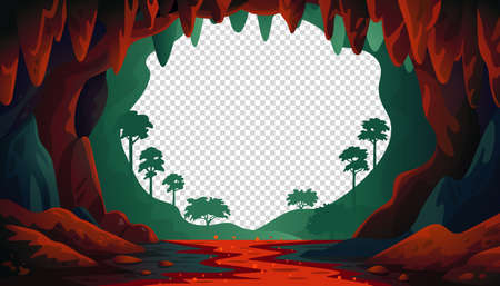 Jungle vector landscape. Cave landscape with an underground red river and forest. Vector illustration in flat cartoon style
