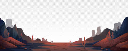 Canyon landscape background. Panoramic landscape with desert mountains on transparent background. Vector illustration in flat cartoon style.