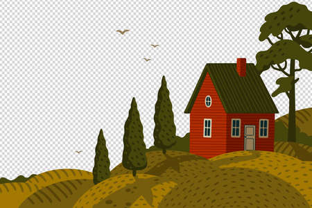 Red farm house. Rural landscape with Barn house in rustic style on green field with cypresses  イラスト・ベクター素材