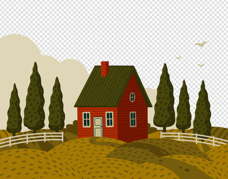 Village landscape. Rural landscape with Red farm house in rustic style on green field with cypresses.